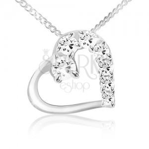 Náhrdelník, řetízek a obrys srdce s čirou a zirkonovou polovinou, stříbro 925