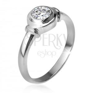 Stříbrný prsten 925, okrouhlá objímka se zirkonem, dvě obroučky