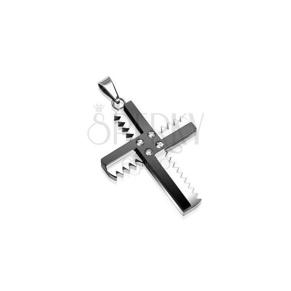 Přívěsek z chirurgické oceli - kříž se zoubky