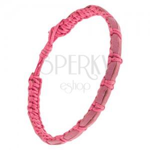 Růžový šňůrkový náramek, dva pásy kůže starorůžové barvy