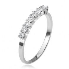 Prsten ze stříbra 925, pás kotlíků s čirými kamínky T17.8
