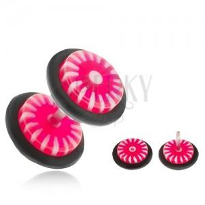 Fake plug do ucha - kolečka z akrylu, růžovo-bílé slunce