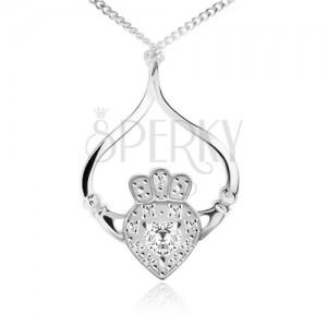 Stříbrný náhrdelník 925, řetízek, srdce, korunka, ruce, čiré zirkony
