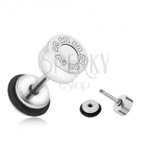 Falešný plug do ucha z oceli, řecký klíč, bílý kruh, 6 mm