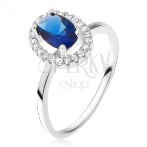 Prsten ze stříbra 925, oválný modrý kámen se zirkonovým rámem