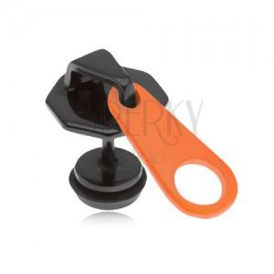 Černý falešný plug do ucha z oceli, oranžovočerný zip, PVD úprava