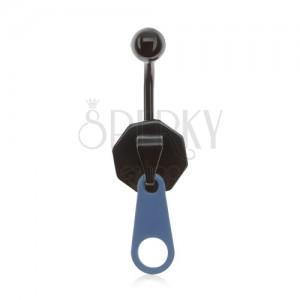 Ocelový piercing do pupíku, černomodrý zip