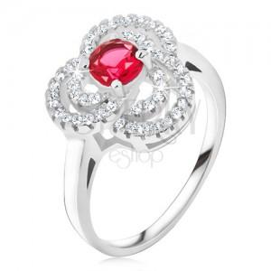 Prsten ze stříbra 925, zirkonový trojlístek, okrouhlý červený kámen
