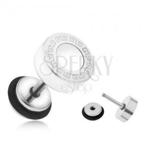 Ocelový fake plug do ucha, bílý glazovaný kruh, řecký klíč, 8 mm