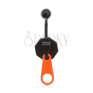 Černý ocelový piercing do pupíku, zip s neonově oranžovým jazýčkem