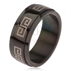 Lesklý černý prsten z oceli 316L, vyvýšený pás s řeckým klíčem