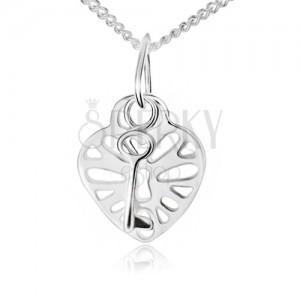 Náhrdelník ze stříbra 925, vyřezávaný srdcovitý zámek a klíč