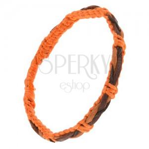 Náramek z oranžových šňůrek, hnědo-černý pletený copánek na povrchu