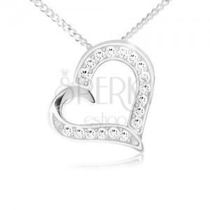 Náhrdelník - řetízek a přívěsek obrysu srdce, čiré zirkony, stříbro 925