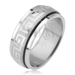 Lesklý prsten z oceli 316L, saténová otáčející se obroučka, řecký klíč