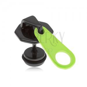 Černý fake plug do ucha z oceli, zip, neonově žlutý jazýček, PVD