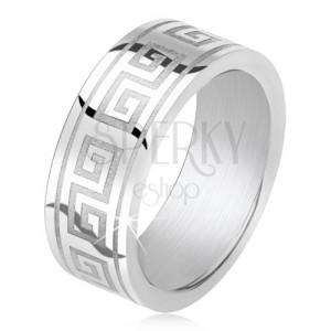 Prsten z oceli 316L, gravírovaný motiv řeckého klíče