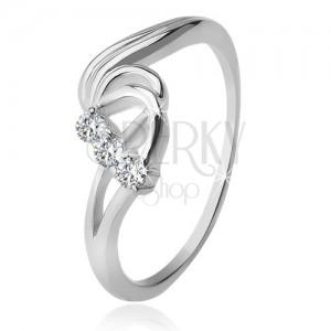Stříbrný prsten 925, tři čiré zirkony, rozbouřené vlny