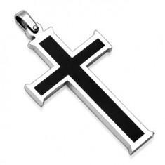 Přívěsek z chirurgické oceli - kříž s černým středem AA08.25