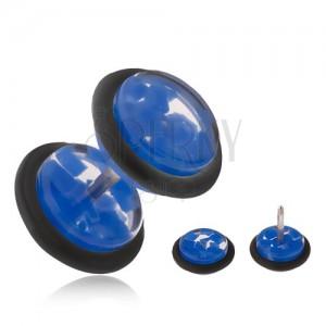 Falešný plug do ucha, čirá akrylová kolečka s modrými úlomky