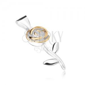Přívěsek ze stříbra 925, květ růže s lístky zlaté barvy