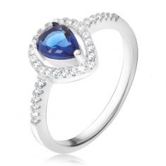 Prsten - tmavě modrý slzičkovitý kámen, čiré zirkony, stříbro 925 K4.16