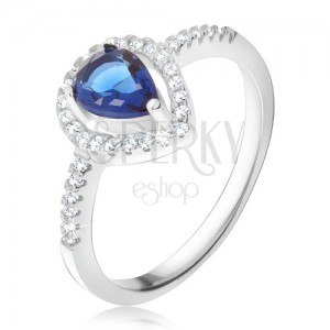 Prsten - tmavě modrý slzičkovitý kámen, čiré zirkony, stříbro 925