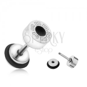 Okrouhlý falešný plug do ucha z oceli, řecký klíč, černý kruh, 6 mm