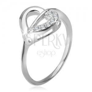 Prsten ze stříbra 925, kontura srdce s čirou a zirkonovou polovinou