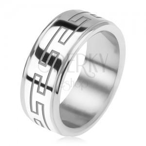 Ocelový prsten, zrcadlově lesklý, snížené okraje, řecký klíč