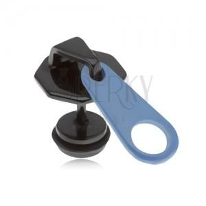 Fake plug do ucha z oceli, černomodrý zip, PVD úprava