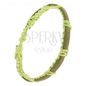 Neonově zelený šňůrkový náramek, pletený, zelenohnědý kožený pás
