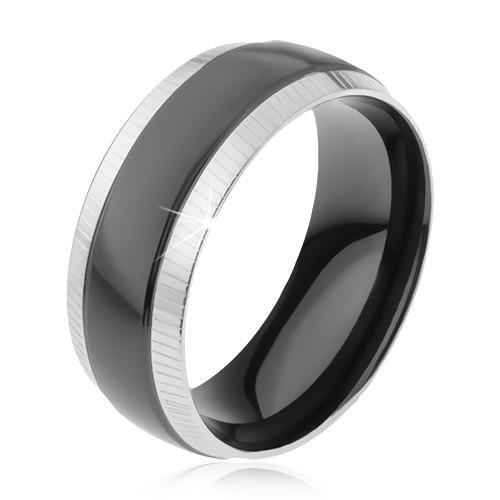 Levně Prsten z oceli 316L, rýhované okrajové pásy, lesklý černý pruh - Velikost: 70