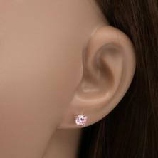 Puzetové náušnice ze stříbra 925, okrouhlý růžový kamínek