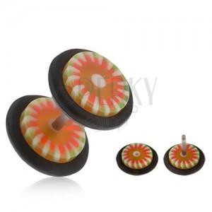 Falešný akrylový plug do ucha, oranžovo-zelený květ, bílé paprsky