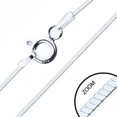 Stříbrný 925 řetízek,  lesklý čtyřhranný hádek, 1 mm