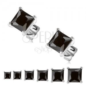 Puzetové náušnice, stříbro 925, černý čtvercový zirkon