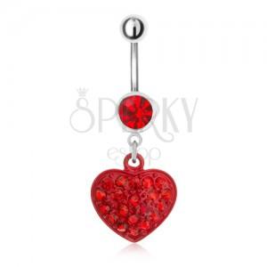 Ocelový piercing do pupíku, červený kamínek a zirkonové srdce