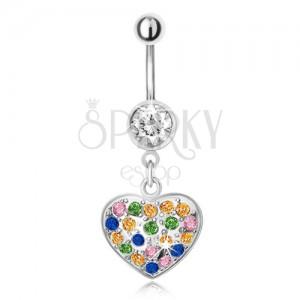 Piercing do bříška z oceli s přívěskem, vícebarevné zirkonové srdce