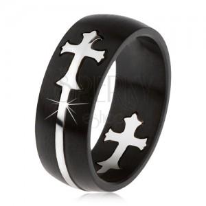 Matný černý ocelový prsten, vyřezávaný kříž stříbrné barvy