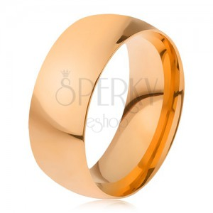 Prsten z oceli 316L zlaté barvy, lesklý hladký povrch, 8 mm