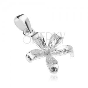 Stříbrný 925 přívěsek, rozkvetlý květ lilie