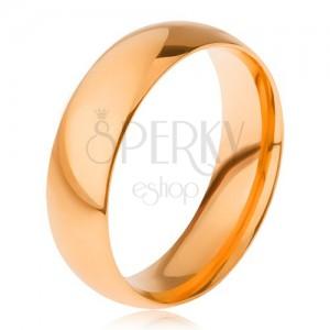 Hladký lesklý prsten z oceli 316L, zlatý odstín, 6 mm