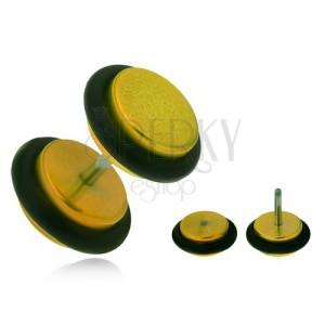 Falešný plug do ucha z akrylu, lesklá žlutá kolečka