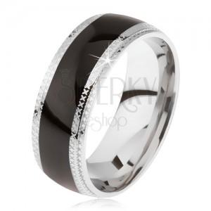 Ocelový prsten, lesklý černý středový pás, rýhované okraje