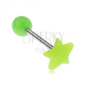 Piercing do jazyka, neonově zelená hvězda