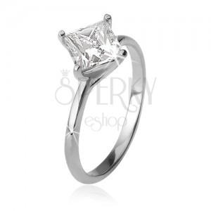 Prsten se čtvercovým zirkonem na zatočených tyčinkách, stříbro 925