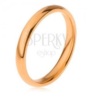 Ocelový prsten zlaté barvy, hladký lesklý povrch, 3 mm