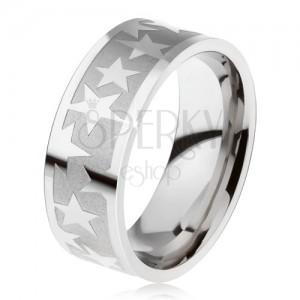 Prsten z chirurgické oceli, matný gravírovaný pás, lesklé hvězdy