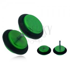 Falešný plug do ucha, lesklá zelená akrylová kolečka